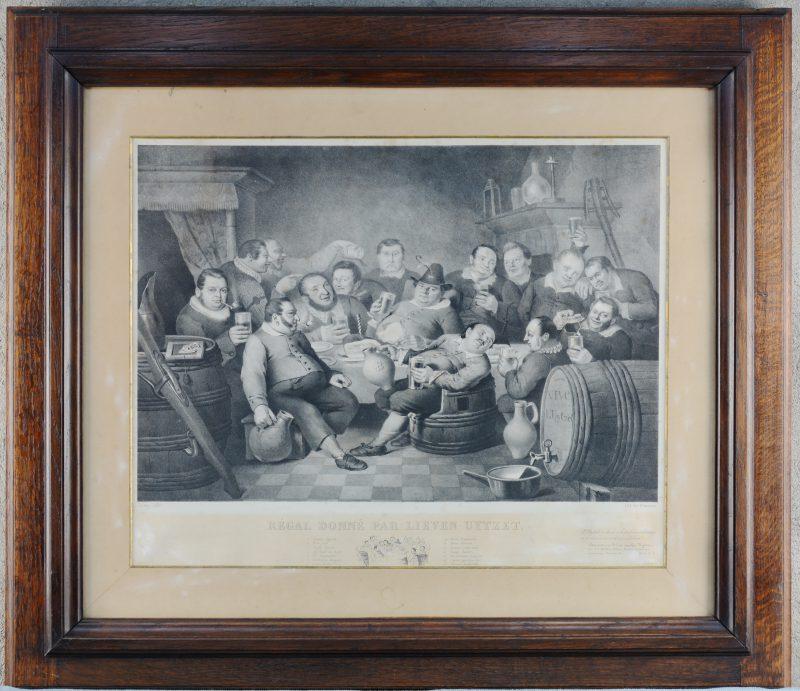 """Régale donné par Lieven Uytzet"". Een XIXe eeuwse Gentse gravure in origineel kader."