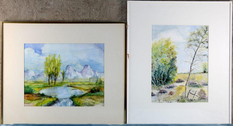Twee landschappen: een weidezicht en een bergmeertje. Aquarel op papier. Beiden gesigneerd, één gedateerd.
