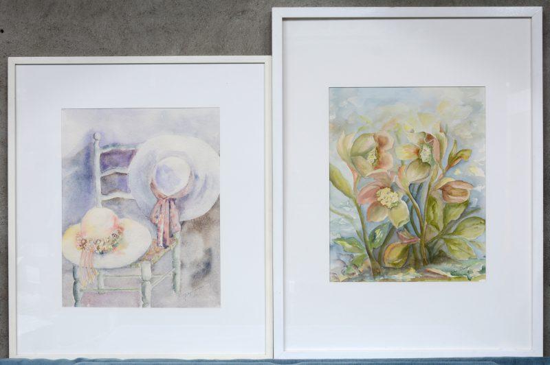 Twee stillevens: 'zomerhoeden op een stoel' en 'bloemen'. aquarel op papier. Beiden gesigneerd, één gedateerd.