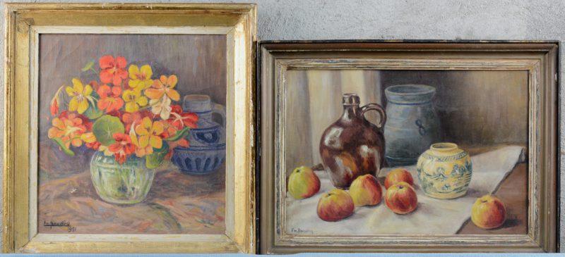"""""""Stileven met bloemen"""" & """"Stileven met appelen en aardewerk. Beide gesigneerd en de eerste gedateerd 1951."""