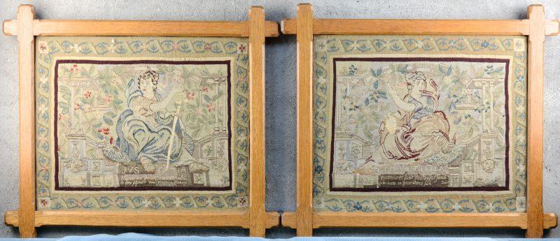 """""""Prudentia"""" & """"Justitia"""". Twee oude tapisserieën. De begeleidende tekst gerestaureerd."""