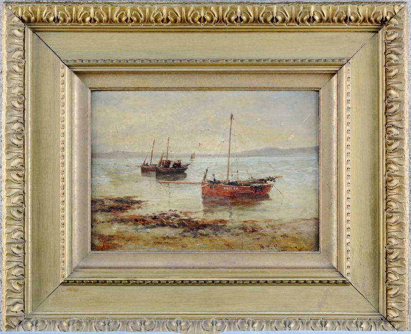 """""""Vissersboten"""". Olieverf op doek. Gesigneerd. XIXe eeuw."""