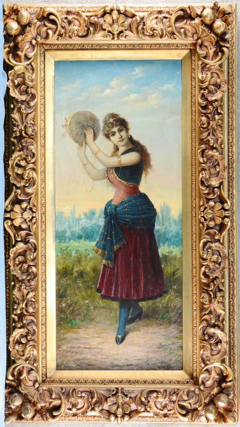 """""""Danseres met tamboerijn"""". Olieverf op doek. Achteraan toegeschreven aan Alfred Stevens."""
