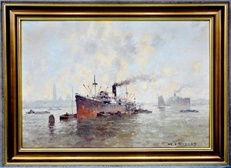 """""""Stoomschip in de haven van Antwerpen"""". Olieverf op doek. Gesigneerd."""