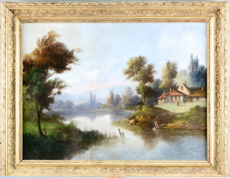 """""""Waterlandschap"""". Olieverf op doek. Omstreeks 1900. Herdoekt."""