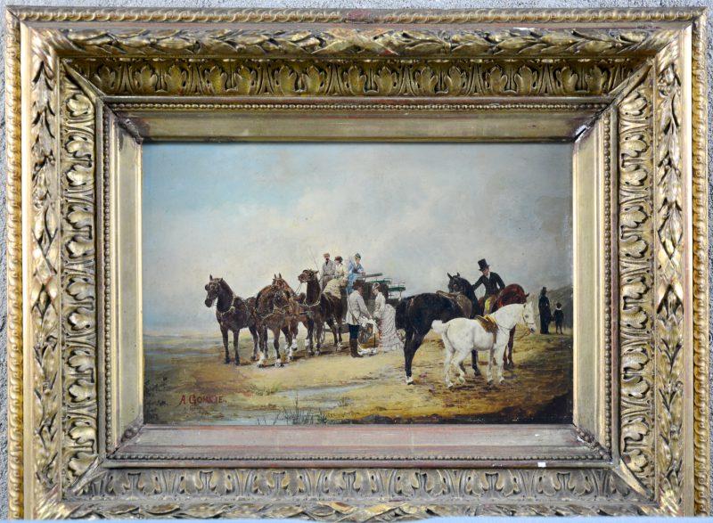 """""""Paardenkoets"""". Olieverf op paneel. Gesigneerd A. Gorcie. Restauratie uit 1980."""