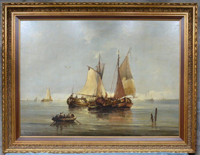 """""""Vissersboten aan de kust"""". Olieverf op paneel. Gesigneerd."""
