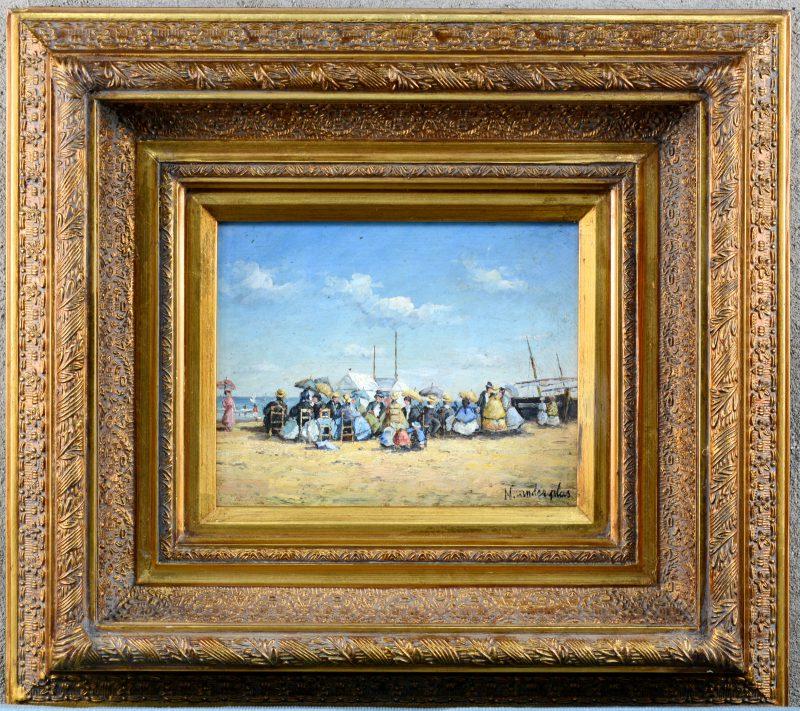 """""""Namiddag op het strand"""". Olieverf op paneel. Recent atelierwerk naar de late XIXe eeuw."""