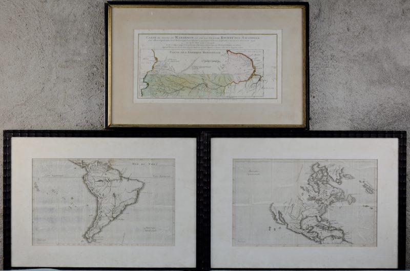 Een lot van drie XVIIIde eeuwse kaarten. Waaronder 'Het Amazone gebied.', 'Zuid-Amerika' en 'Midden-Amerika'