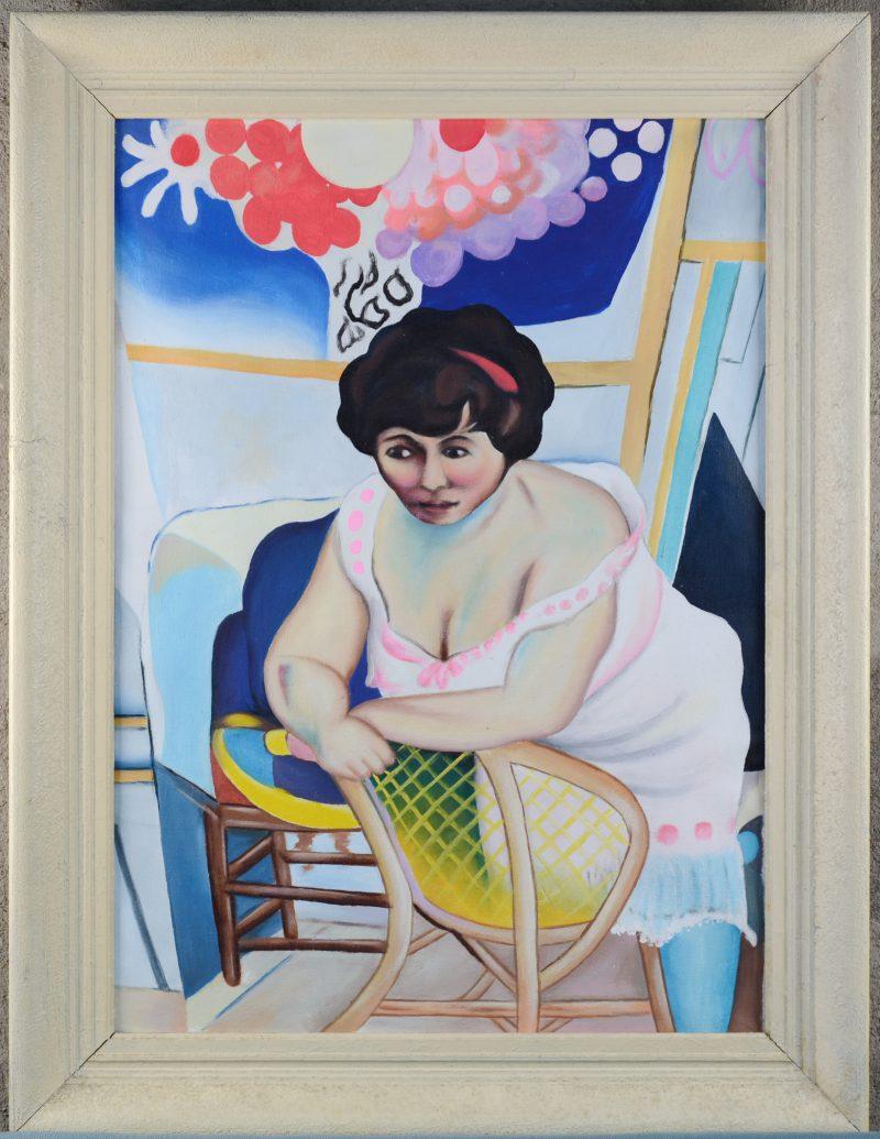 """""""Vrouw in een interieur"""". Olieverf op doek. Kleine herstellingen."""