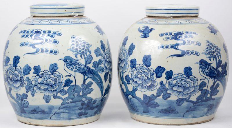 Een paar gemberpotten van Chinees porselein met een blauw op wit bloemendecor.
