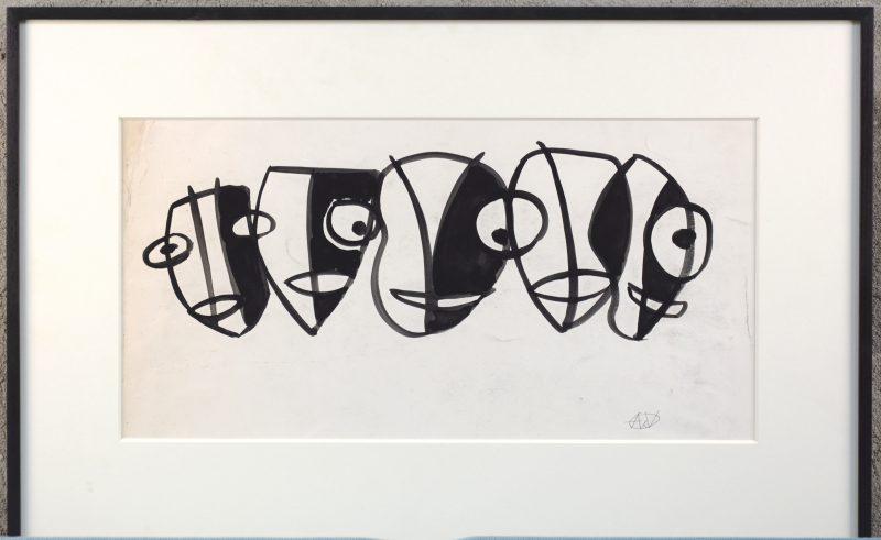 """""""Gezichten"""". Aquarel op papier. Draagt monogram 'AdV'."""