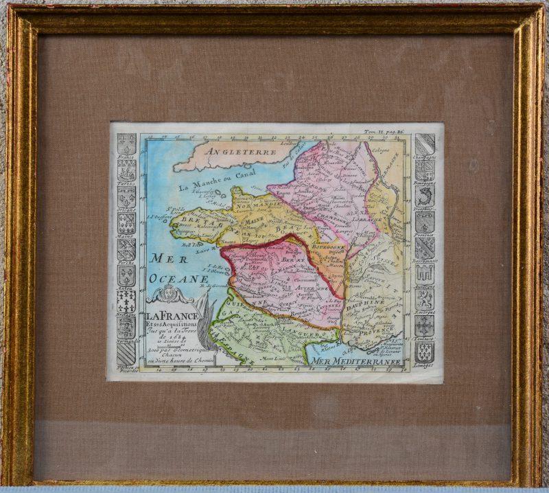 Een ingekleurde oude kaart van Frankrijk in de late XVIIde eeuw.