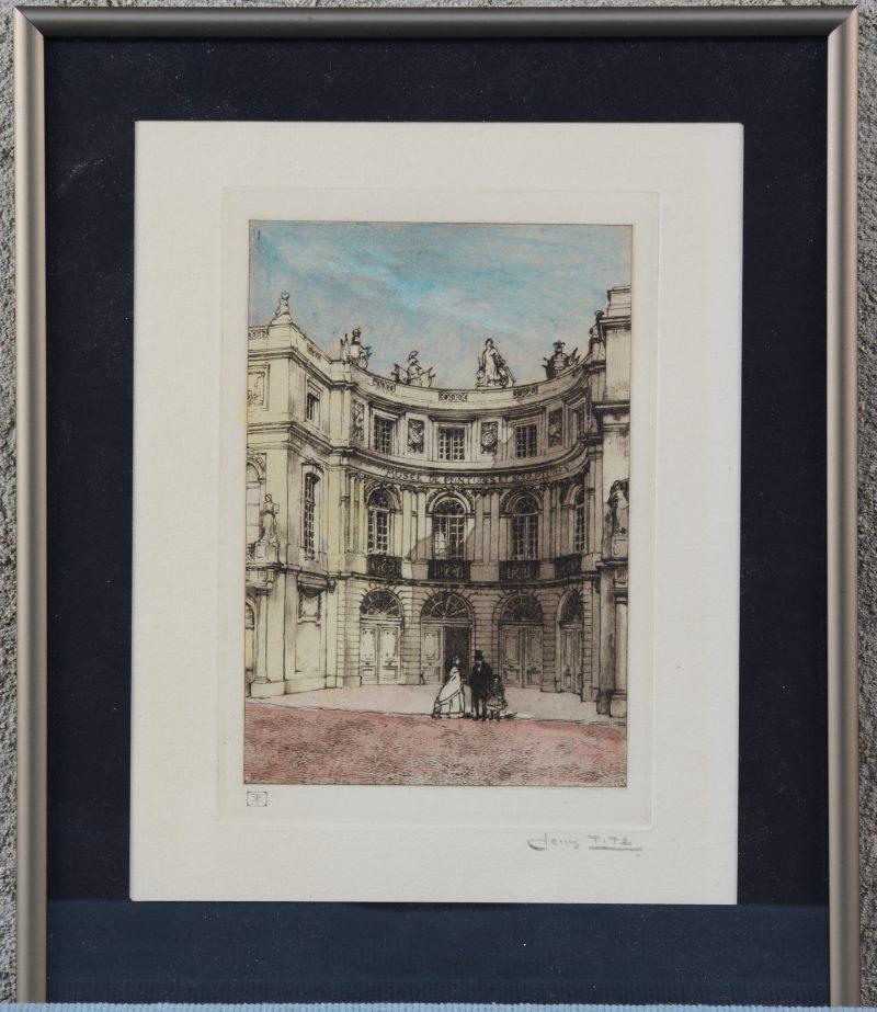 """""""Musée de peintures et sculptures"""" . Een kleurengravure."""