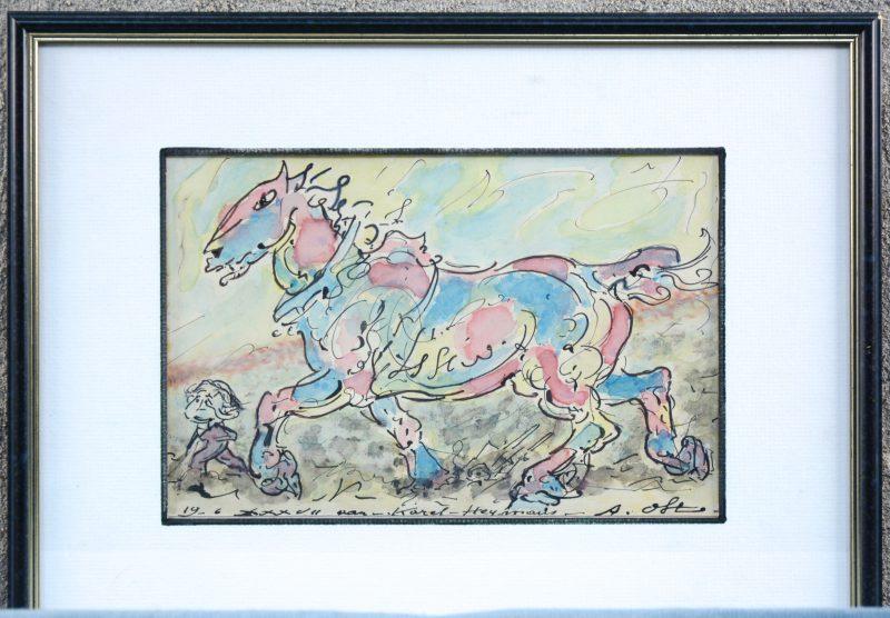 """""""Boerenpaard"""". Inkt en aquarel op papier. Gesigneerd en gedateerd."""