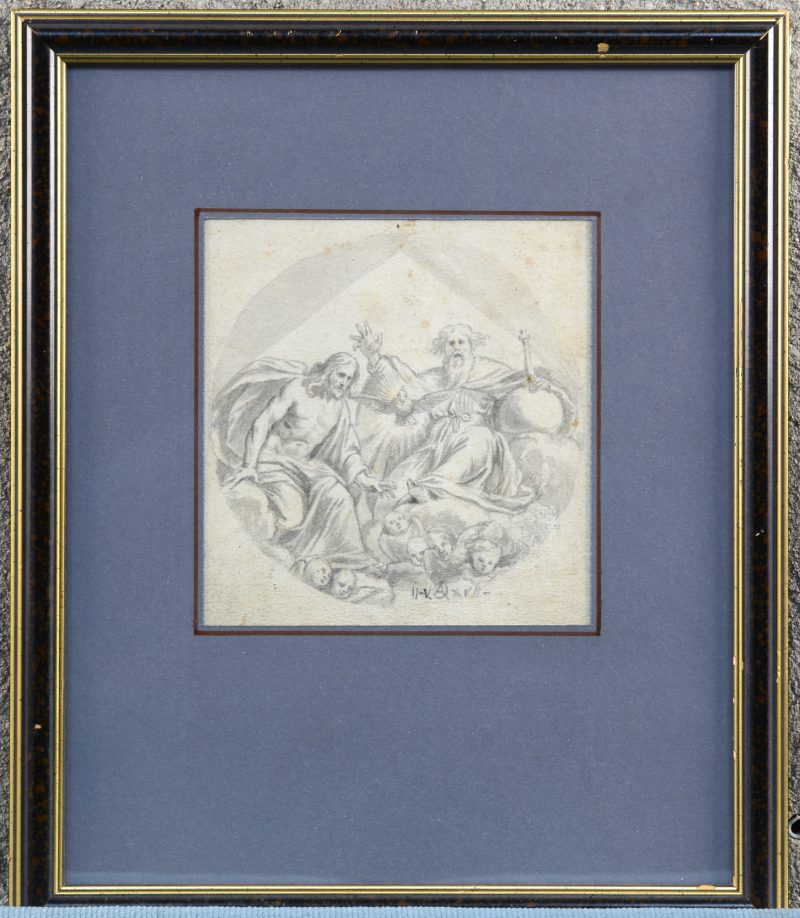"""""""De Heilige Drievuldigheid"""" Ontwerp voor een fresco. Gewassen pentekening op papier. Gemonogrammeerd A.O. en gedateerd '17."""