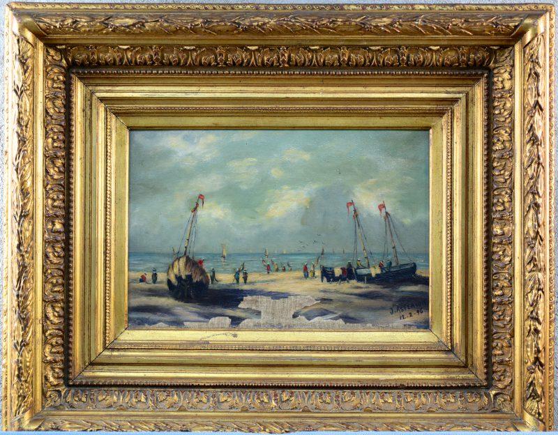 """""""Vissersboten op het strand"""". Olieverf op doek. Gesigneerd en gedateerd 12-2-96. Onderste gedeelte zwaar beschadigd."""