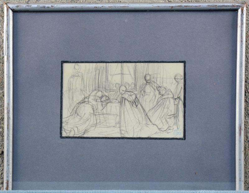 """""""Schets voor een Kraambed in een interieur"""". Potlood op papier. Met atelierstempel."""