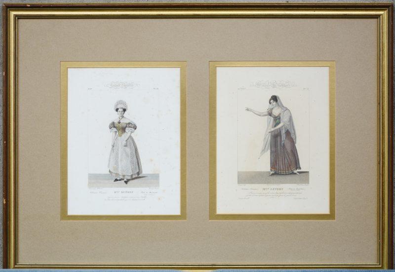 """Twee prenten uit het tijdschrift 'Galerie Théatrale""""."""