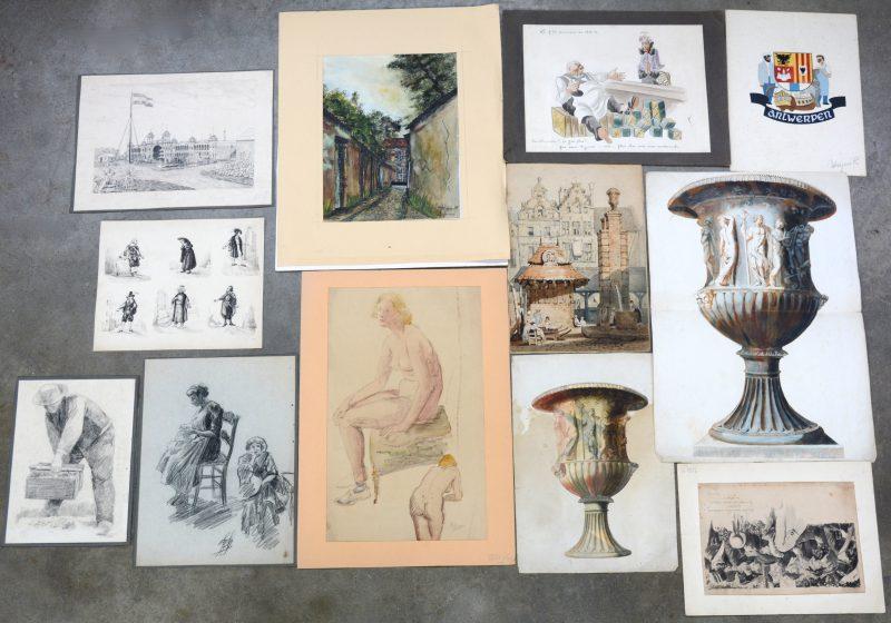 """Lot van 12 tekeningen: A. Soreil 1918. """"En cortège"""", lavis. G. Roose. """"Naaktstudies"""", Houtskool en aquarel. R. Weyers. """"Wapen van Antwerpen"""", gouache. Vlaamse School, XIXde eeuw. """"Pleintje"""". Aquarel. René. """"Le P'tit Commerce en 1915-16"""". Aquarel en oost-indische inkt. Siaen (?) 1965. """"Begijnhof, Lier"""". Aquarel en oost-indische inkt. En zes andere."""