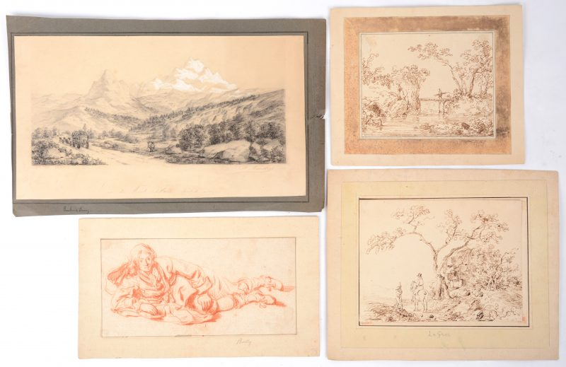 """Lot van 4 tekeningen: Bailly (toegeschreven aan). """"Liggende jongeman"""", sanguine. Le Gros (toegeschreven aan). """"Landschap met bruggetje"""" en """"Ruiter in een landschap"""", pentekeningen. Frans Backvis 1881. """"Zicht op de Mont-Blanc"""", gesigneerd en gedateerd."""