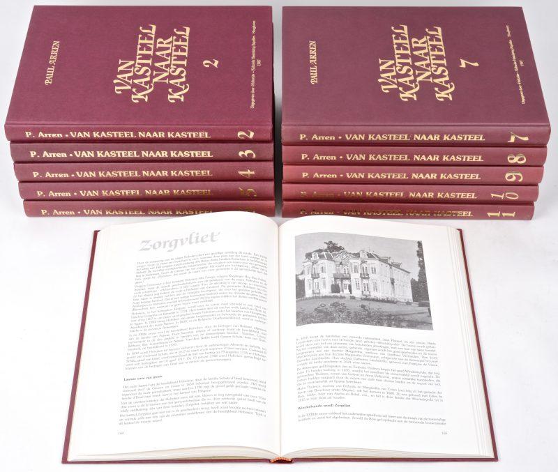 """'Van kasteel naar kasteel"""". P Avren. Uitgegeven in eigen beheer 1985 - 2005.Hardcovers in zeer goede staat."""