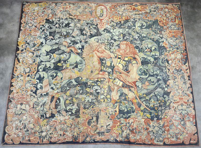 """""""Eén van de werken van Hercules - De vleesetende paarden van Diomedes"""" Gedrukt wandtapijt, vroeg 20ste eeuw."""