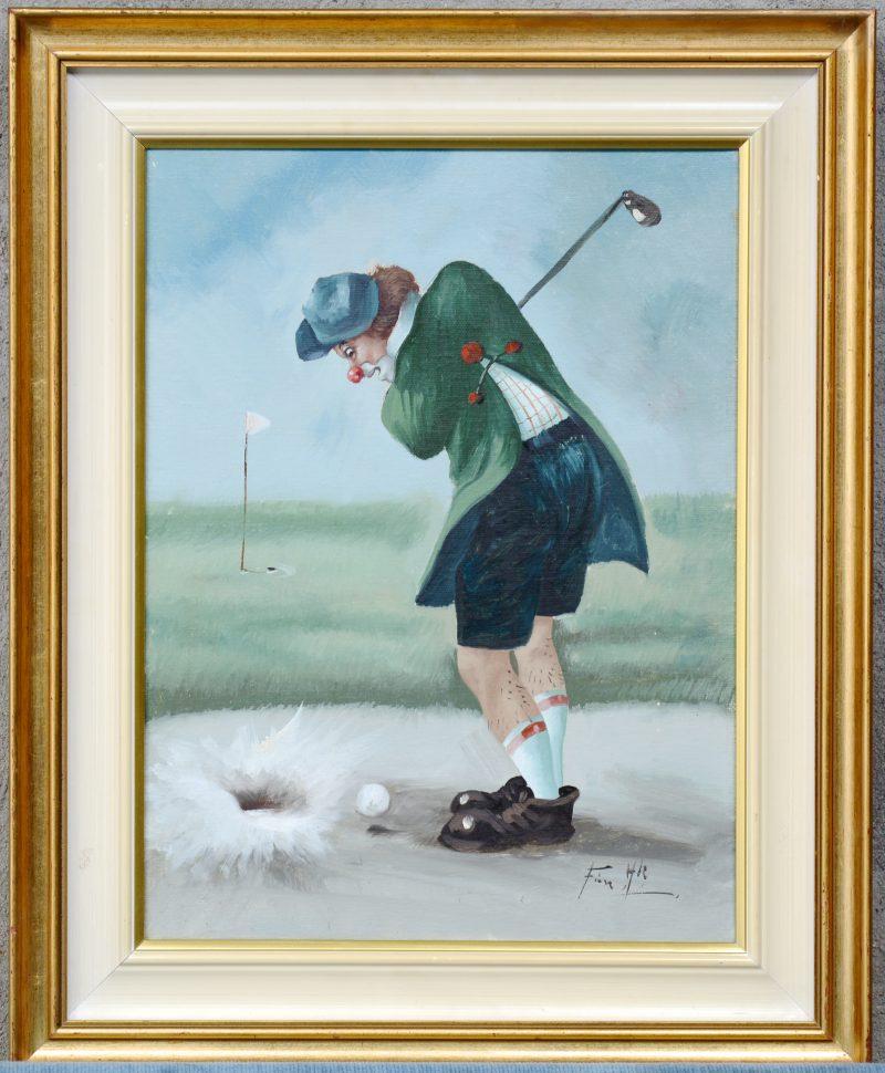 """""""Golfino in the bunker"""". Olieverf op doek. Gesigneerd."""