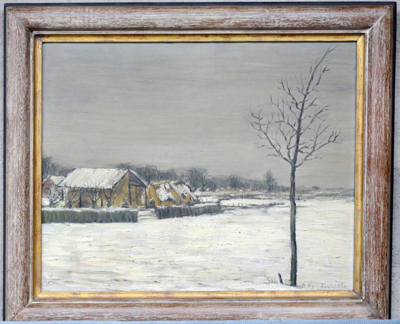 """"""" Winterlandschap met hooischuur"""" . Olieverf op doek. Gesigneerd. Met boekje over de retrospectieve 1930 - 1980 te brugge in maart 1987."""