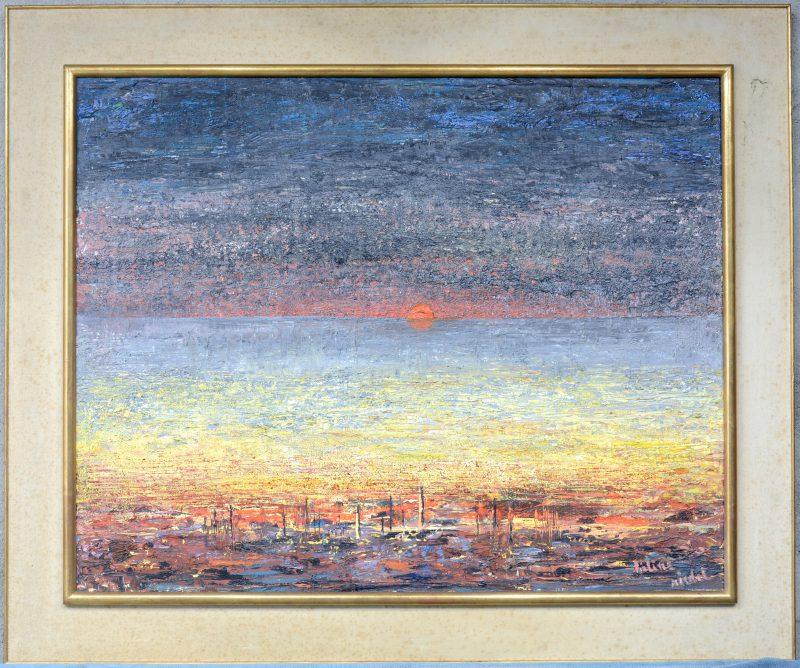 """Zonsondergang op zee"". Olieverf op doek. Gesigneerd."
