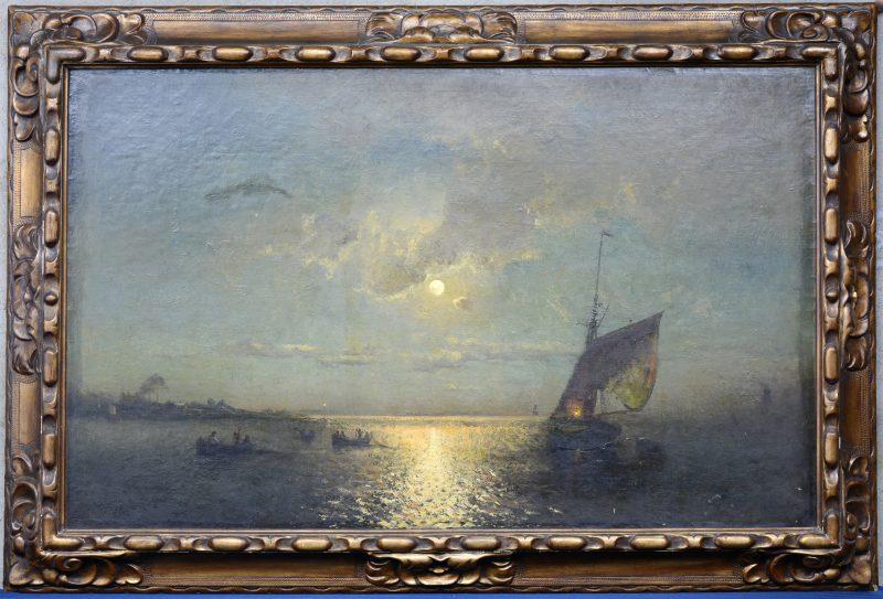 """""""Zeilboot en sloepen bij maanlicht"""". Olieverf op doek. Gesigneerd en gedateerd 'Paris, 1876'."""