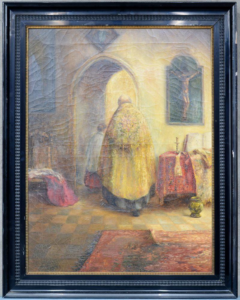"""Pastoor en misdienaar"". Olieverf op doek. Gesigneerd en gedateerd 1924."