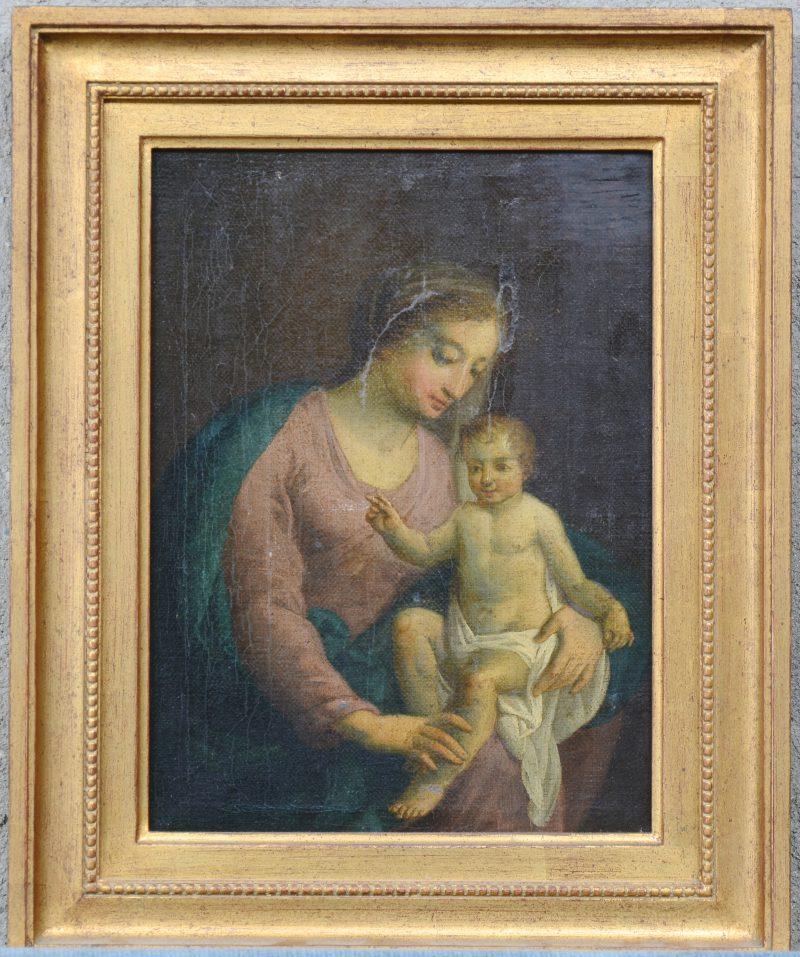 """""""Madonna met kind"""". Olieverf op gemaroufleerd doek."""