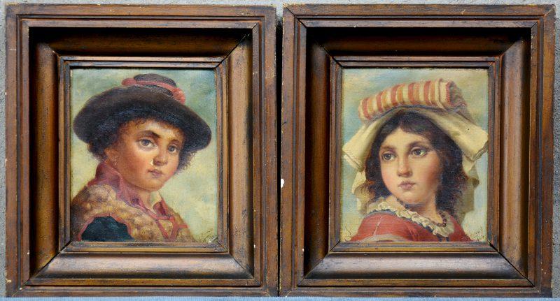 Twee kinderportretten. Olieverf op doek. Gesigneerd en gedateerd 1884.