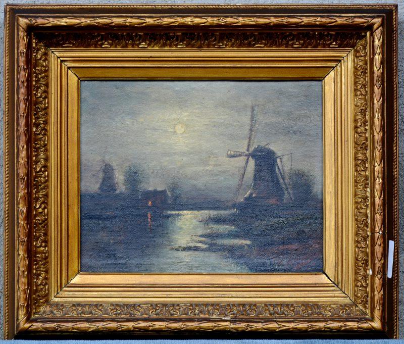 """""""Rivierlandschap met molens bij nacht"""". Olieverf op gemaroufleerd doek. Gesigneerd en gedateerd 1908."""