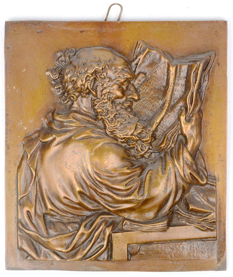 """""""De lezer"""". Bronzen hoogreliëf. Duits werk omstreeks 1900."""