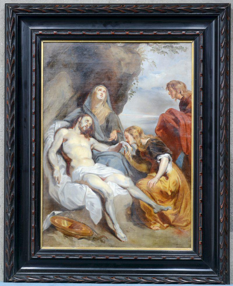 """De aanbidding van Christus"". Olieverf op doek. Vlaamse school, omstreeks 1900."