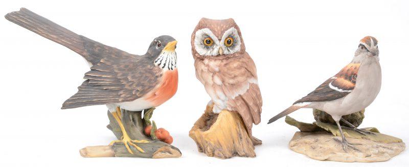 Een lot van drie vogels van meerkleurig biscuit. Allen gemerkt en genummerd onderaan.