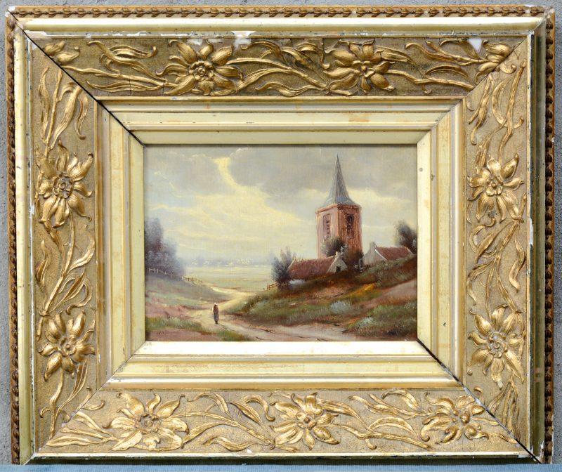 """""""Romantisch landschap me de Rijn bij Kleve"""". Olieverf op doek. Draagt een handtekening: Klombeck. Lichte beschadiging."""