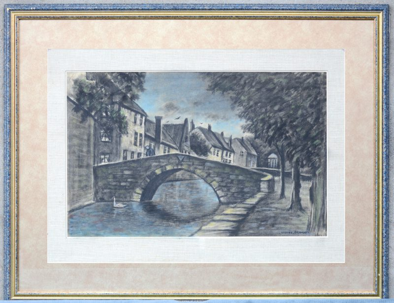 """""""Binnenwater met brug"""". Pastel. Draagt een handtekening: Isidore Opsomer."""