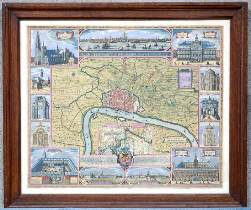"""Marchionatus Sacri Romani Imperii. Landkaart van Antwerpen anno 1531."" Handingekleurde ets."