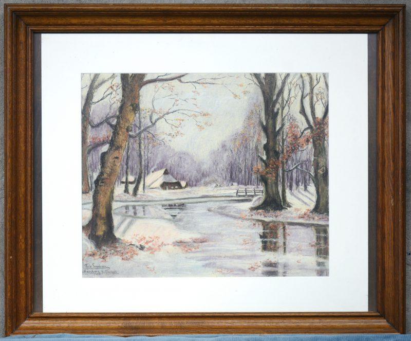 """""""Winters rivierzicht."""" Pastel op papier. Neo-impressionistisch Gesigneerd en gedateerd november 1943."""
