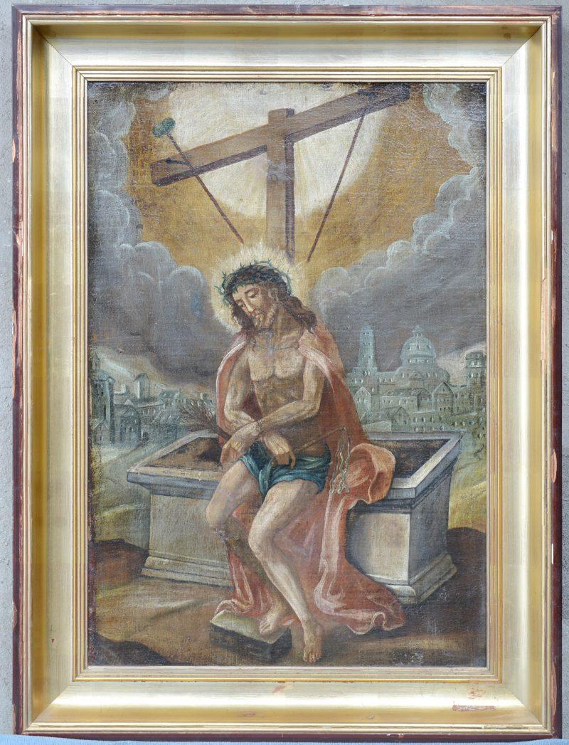 """""""Verrezen Christus"""". Olieverf op doek. Vlaamse school, XVIIe eeuw. Herdoekt en licht gerestaureerd."""