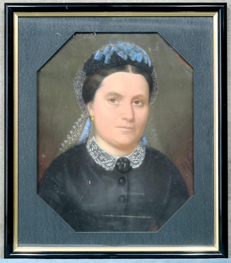 """""""Portret van een burgervrouw"""". Gouache op papier. Onduidelijk gesigneerd. Gedateerd 1867."""