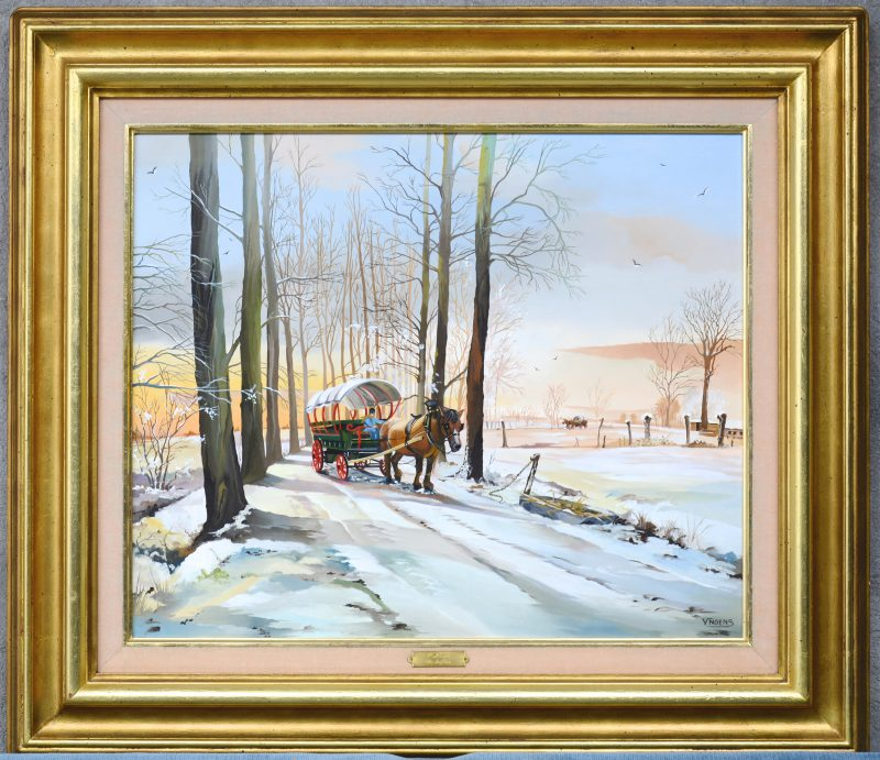 """""""Huifkar in de winter"""". Olieverf op schilderbord. Gesigneerd."""