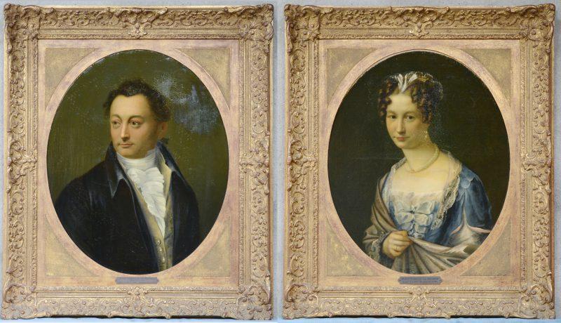 """""""Portret van Jean Corneille Van Reuzel en Marie Isabelle Van Mieghem"""". Olieverf op doek. XVIIIe eeuw. Beide herdoekt."""