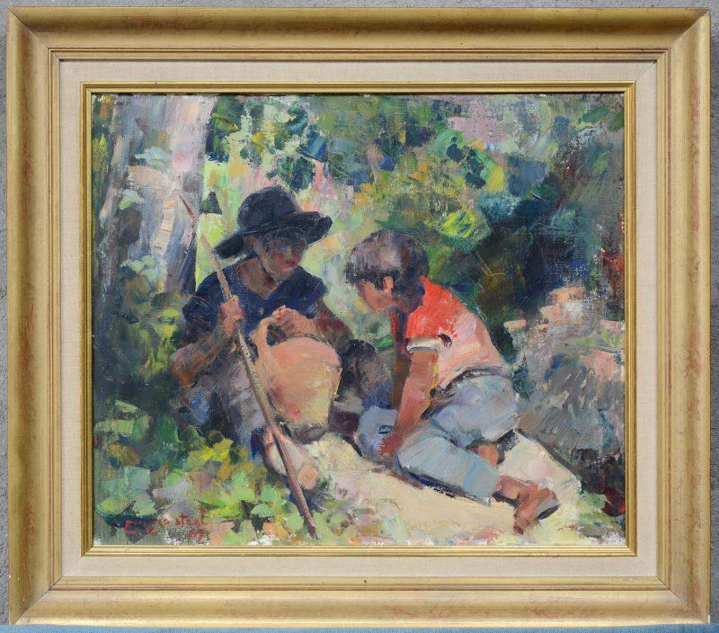 """""""Twee jongens"""". Olieverf op doek. Gesigneerd en gedateerd 1967."""