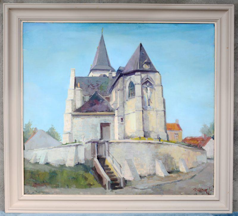 """""""Kerk te Wemmel"""". Olieverf op doek. Gesigneerd."""