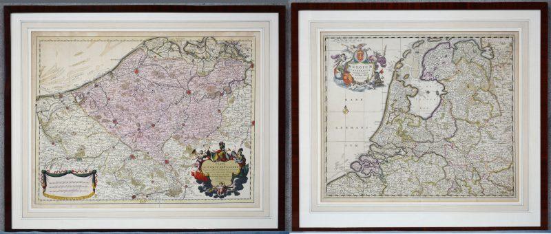 """Een paar landkaarten van België en Vlaanderen: """"Belgium Foederatum."""" en """"Carte du compté de Flandre."""""""
