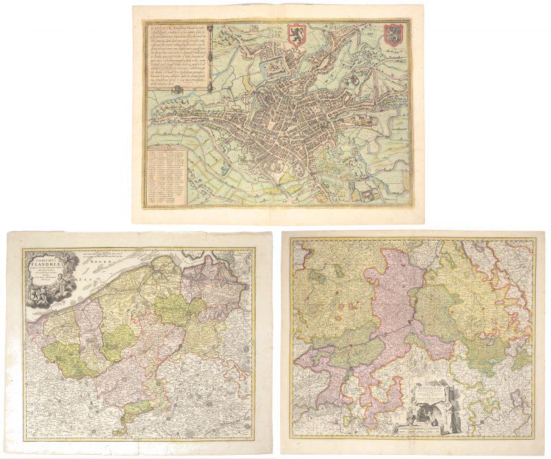 """Drie landkaarten betreffende onze contreien. """"Leodiensis Episcopatus."""" & """"Comitatus Flandriae"""" en een oude stadskaart van Gent."""